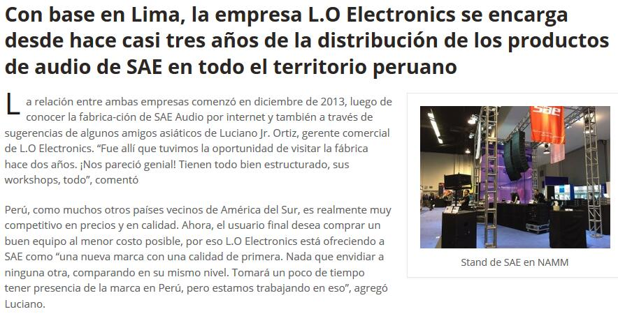 SAE Audio and his Peru Distributor L.O Electronics